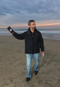 Steve Weiss taking radiation measurements Half Moon Bay